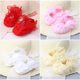 crochet baby shoes sizes Australia - Newborn baby Girls Satin Christening Floral Lace Crochet Soft Shoes Princess Kids First Walkers Infant Cotton Shoes Z0207