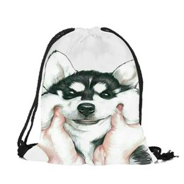 f4e0d4d1c1 Pink Blue Animal Husky Pug Design String Backpack Women Girls Polyester Drawstring  Bags Travel Shoes Dust Storage Shoulder Bag