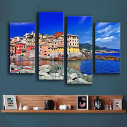 Canvas Prints Art Sale Australia - 2017 Sale 4pc Genova Liguria Italy Unframed Wall Picture Art wall Painting Home Decoration Printed On Canvas free shipping