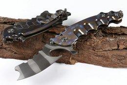 $enCountryForm.capitalKeyWord Australia - 2019 New Flipper Folding Knife D2 Titanium Coated Blade TC4 Titanium Alloy Handle Ball Bearing Knives With Nylon Bag Package