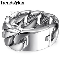 heavy stainless chain Australia - Trendsmax Fashion New Link Chain Stainless Steel Bracelet Men Heavy Mens Bracelets 2018 Bicycle Chain Wrstband 24 31mm Hbm24 Y19062901