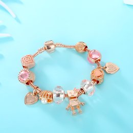 $enCountryForm.capitalKeyWord NZ - Fashion Rose Gold Charms Bead Chain Bracelet&Bangle With Love Heart Brand And robot Bracelet For Women Jewelry Gift Dropshipping