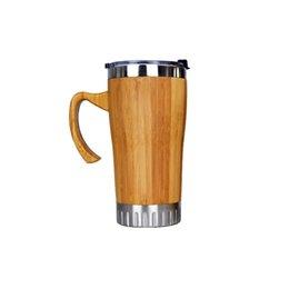 For Tumblers Australia - Bamboo Water bottle Stainless Steel Tumbler Coffee Mug For Travel Tea Stainless Steel Water Bottle Double Wall Travel Mug 520ml KKA7023
