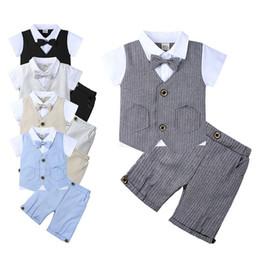 $enCountryForm.capitalKeyWord Australia - Newest INS Kids Boys Suits Tatting Cotton Bow Tie Gentleman Tshirts+Pants 2pieces Suits Front Button Pocket Short Sleeve Casual Children Set