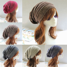 $enCountryForm.capitalKeyWord Australia - Winter Wrinkle Knitted Crochet Baggy Hat Beanie Cap Winter Warm Street Hip Hop Caps Stripe Beanies Skullies Hats 30pcs