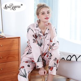 e034011111 pajama set faux silk pajamas autumn Long sleeves nightshirt Flower printing  nightwear Suit Women Lounge Silk Satin Pijama TZ1060