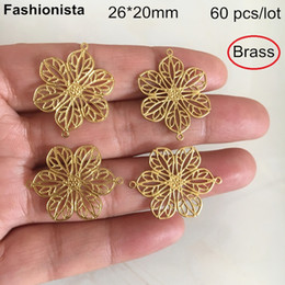 Brass Connectors Australia - 60 pcs -26*20mm Brass Flower Connectors,6 Petal Filigree Flowers With 2 Loop,Sunflower Connector For Crafts Jewelry DIY -DGG
