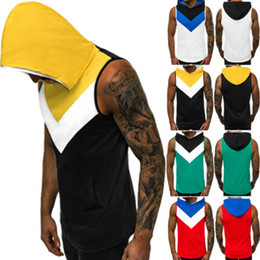 Wholesale men gym clothes style resale online - Summer New Fashion Men Hooded Hoodie Vest Tank Tops Sweatshirt Gym Muscle Sleeveless Tanks Cool Style Male Summer Clothing