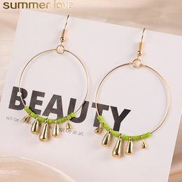 Wholesale 2019 Bohemia Acrylic Beads Circle Earrings For Women Ethnic Big Round Hoop Earring Gold Copper Drop Earring Design Jewlery