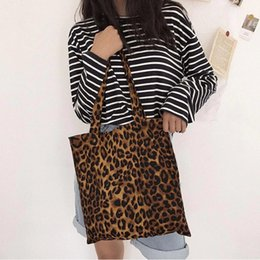$enCountryForm.capitalKeyWord Australia - Pure Cotton Leopard Print Canvas Bag Fashion Ladies Shoulder Large Capacity Handbags Totes Women Sisters Confidante Gift Bags