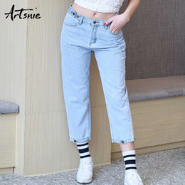 $enCountryForm.capitalKeyWord NZ - Artsnie low waist button streetwear casual denim women pants summer 2019 double pockets zipper boyfriend jeans girls pant mujer