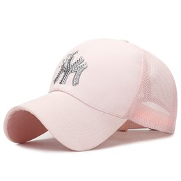 Black Diamond Caps UK - New High Quality Breathable Outdoor Baseball Cap For Men And Women With Diamond Letter Netting Cap