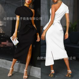 Wholesale Spot JDZ1944 stand alone European and American one shoulder asymmetric dress wish Amazon Express Cross border