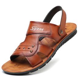 Beach Shoes 47 Australia - Fashion2019 Will 38-47 Male Tide Sandals Trend Cowhide Beach Massage Non-slip Casual Shoes