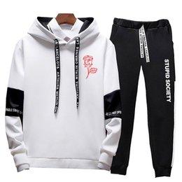 Rose pRinted sweatshiRt online shopping - 2019 Autumn Winter Hoodies Men s Sweatshirts Rose Print Men Women Couple Oversize Hoody hoody Pants Sporting Suit Tracksuit Men