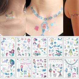 Wholesale laser neck for sale - Group buy Laser Metallic Temporary Tattoo Cute Glitter Cartoon Mermaid Sea Animal Jewelry Necklace Design for Kid Arm Sleeve Neck Body Tattoos Sticker