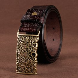 $enCountryForm.capitalKeyWord Australia - [lfmb]belt For Women Waistband Cowskin Leather Lady Belt Vintage Pin Buckle Hollow Flower Fashion Woman Jeans Girdle Female C19041301