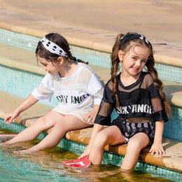 88aee472f9 2019 new style kids swimwear 4pcs set Tops+ shorts+outerwear+headband Girls  Swim Suits Bikini Kids Bathing Suits Child Sets Beachwear A3132