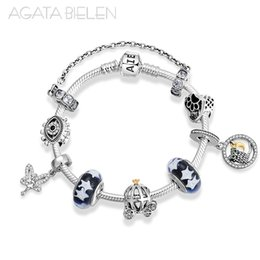 Finished silver chains online shopping - 925 Sterling Silver Fairy tale world Finished product Bracelets Glass beads with starry sky Charm Bracelet Fashion Jewelry
