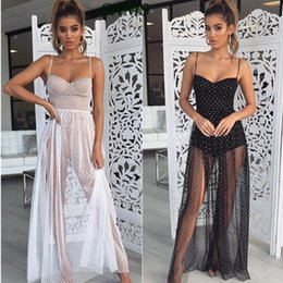 sexy v cut maxi dresses NZ - Shirley mesh Maxi sexy party cut transparent Women's through club lace dresses Y200102