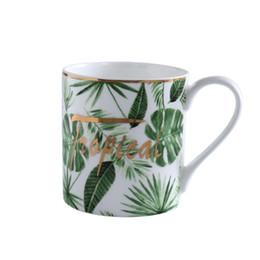 Mug Cup Print Australia - Creative Green plant mugs, High quality Porcelain Coffee Latte Mug Printing Teacup Ceramic Tea Cup Water Drinkware