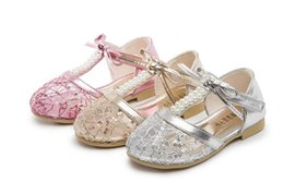 t girl shoes Australia - Girls shoes sandals kids summer lace Princess double row Pearl bow Sandals 3 colors pair l