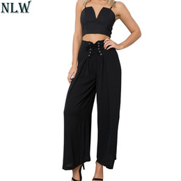$enCountryForm.capitalKeyWord Australia - Nlw Lace Up High Waist Chiffon Wide Leg Pants 2019 Summer Women Solid Casual Formal Wear Long Trousers Slim Khaki Black Pants SH190718
