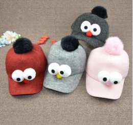 Wholesale Korean Children s Wool Baseball Cap in Autumn and Winter Boys and Girls Cartoon Cute Bird Eyes Duck Tongue Hat Tide