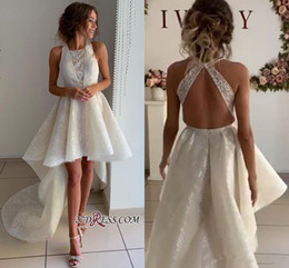 Spring princeSS online shopping - 2019 Beautiful Sleeveless A Line Lace Hi lo Beach Wedding Dresses Jewel Neck Plus Size Sweep Train Bridal Gowns Customize
