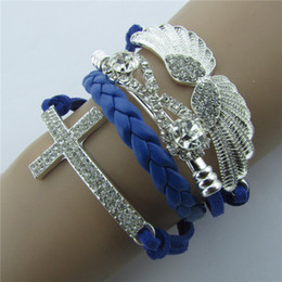 Wholesale Europe and America retro with diamond angel wings word cross leather rope bracelet