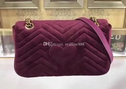 $enCountryForm.capitalKeyWord Australia - DHL Free Shipping 5A 26cm 443497 Marmont Small Chevron Velvet Shoulder Bag,Sliding chain strap Antique hardware,Silk Lining,with Dust Bag
