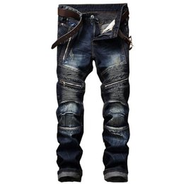 dsel jeans NZ - 2020 New Dsel Brand Fashion Designer Jeans Men Straight Blue Color Printed Men Jeans Ripped Men Jeans!E988
