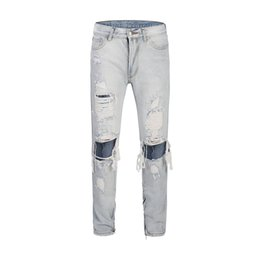$enCountryForm.capitalKeyWord UK - New Fashion High Street Male Jeans With Big Knee Holes Hip Hop Style Jeans Trousers Streetwear Trousers For Men