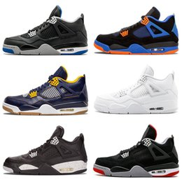 476e56b5afda Cheap Top 4 men basketball shoes Retro sneakers thunder White Cement Pure  Money Bred Royalty Game Royal 4s Sports shoes US 7-13