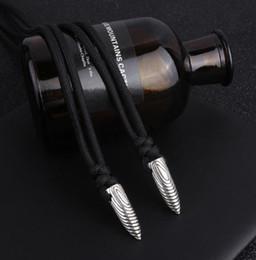 Steel Wholesalers Australia - Hot Sale Fashion Men Silver Stainless Steel Bullet Shape Pendant Black Leather Necklace Gift Jewelry Wholesale