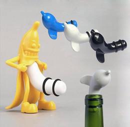 $enCountryForm.capitalKeyWord Australia - 1PC Dolphin Banana Wine Stopper Novelty Bar Tools Man Vacuum Glass Wine Cork Bottle Stopper Plug OK 0773