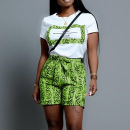 sexy black two piece outfits NZ - Sexy Summer Outfits New Women Short Sleeve Round Neck Top Elastic Snake Printed Short Pants Neon Green Two Piece Sets Tracksuit