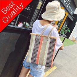 Boho Shoulder Bags Australia - Women Straw Bag Women Shoulder Bag For Girls Patchwork Striped Big Slim Casual INS Boho Beach Bag Summer Female Handbags New