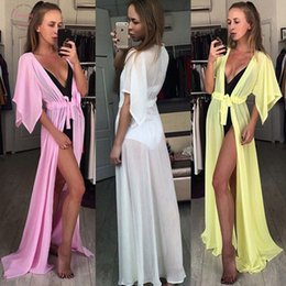 Wholesale white kimono sleeve maxi dress online – Women Fashion Summer Solid Short Sleeve Loose Sexy Beach Dress Maxi Dress Holiday Swimwear Cover Up Designer Clothes