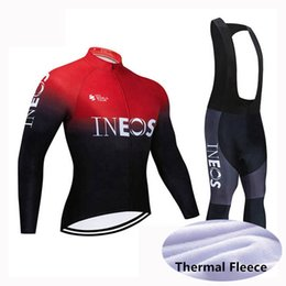 men suits peach NZ - 2020 INEOS Team winter cycling jersey Set Men long Sleeve thermal fleece bike shirt bib pants suit road bicycle Outfits sports uniform Y0314