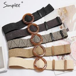 $enCountryForm.capitalKeyWord Australia - Simplee Bohemian wide belt for women Straw buckle belt decoration dress Casual female braided wide strap jade accessories