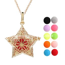star locket NZ - Gold Color Star Aromatherapy Perfume Diffuser Ball Locket Lava Beads Essential Oil Pendant Angel Bola Mexican Chime Ball Necklace for Women
