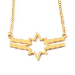 superhero necklaces NZ - New Captain Marvel Necklace Pendant 4 Endgame Superhero Golden Chocker For Women Men Movie Jewelry