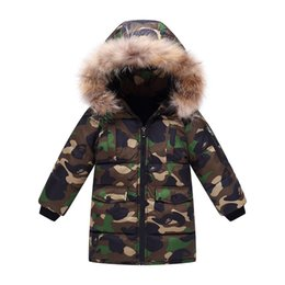 Winter Snow Suits UK - quality New Winter Children's Clothing Set Baby Ski Suit Girl Clothes Boys Long Fur Hooded Down Jackets Coat Snow Wear