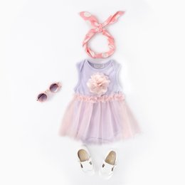Chinese  Sweet And Lovely Flower Decoration Romper Dress Purple Princess Pettiskirt Triangle Rompers Mesh Floral Jumpsuit For Baby GirlsA manufacturers