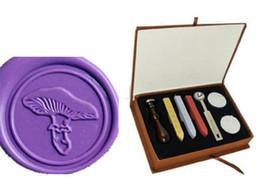 Wood Stamp Kit Australia - Mushroom Wax Seal Stamp Kit with rosewood Handle Wedding Invitations