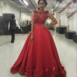 $enCountryForm.capitalKeyWord Australia - Arabic Long Prom Dresses Sheer Bateau Neck Sleeveless 3D Floral Lace Appliques Illusion Top Red Evening Party Gowns with Petal Embellishment