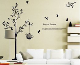 Black Birds Wall Stickers Australia - 165*150cm(65*59inch) Black tree Bird Cage Vinyl Wall Decals For Living Room Bedroom Wall Stickers Home Decoration Wallpapers
