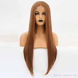 lace front synthetic wigs price Australia - Natural Soft Light Brown Long Silky Straight Lace Front Wigs with Baby Hair Heat Resistant Glueless Synthetic Cheap Price Wigs For Women
