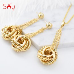 $enCountryForm.capitalKeyWord NZ - Sunny Jewelry Fashion Jewelry 2019 Sets For Women Necklace Earrings Pendant Twisted Strings For Party Wedding Daily Gift